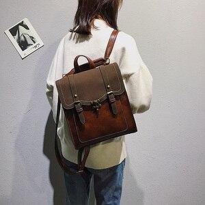 Image 5 - בציר עור מפוצל נשים תרמיל סגנון הסטודנטיאלי אופנה תרמילי בית ספר תיק מכללת ילדה תרמיל כתף שקיות המוצ ילה Feminina