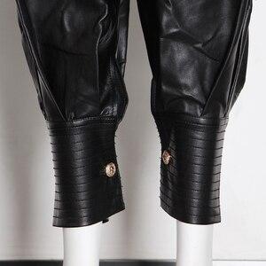 Image 5 - TWOTWINSTYLE PU Leather Ruched damska pełna długość spodnie spódnica z wysokim stanem zasznurować spodnie typu Casual kobieta 2020 modne ciuchy nowe