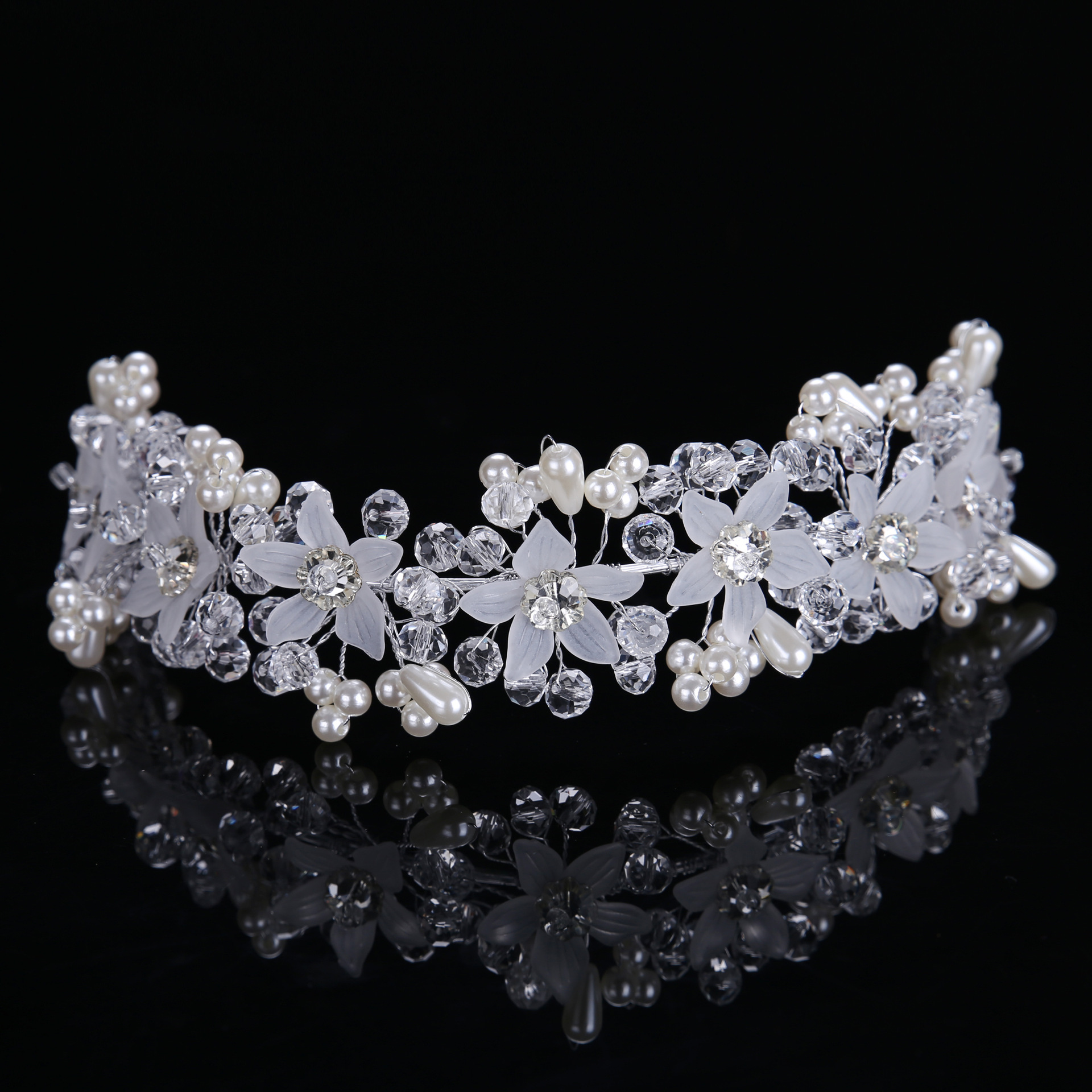 Korean Bride Handmade Crystal Flower Hair Band Photo Studio With Makeup Bride Wedding Accessories Headband