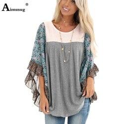 Женский свободный свитер с круглым вырезом и принтом размера плюс в стиле бохо, повседневный вязаный пуловер на осень 2019