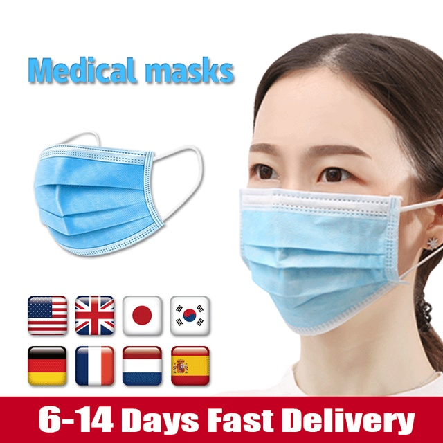 Disposable Face Medical Masks Surgical 3-Ply Nonwoven 100/150/200PCS Elastic Mouth Soft Breathable Flu Hygiene Face