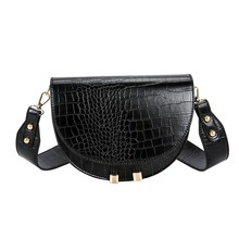 Crocodile Pattern Crossbody Bags for Women Half Round Messenger Bag