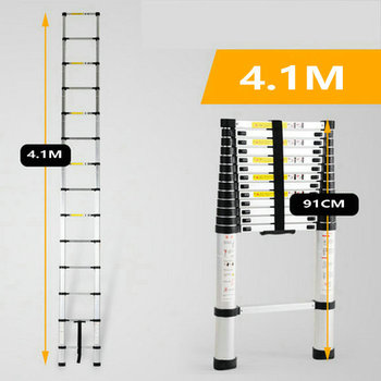 4.1M telescopic ladder single straight ladder family portable folding ladder project thickened aluminum alloy one-word ladder