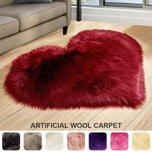 Artificial Wool Carpet Love Heart Rugs Soft Washable Sheep Fur Sheepskin Hairy Mat Floor Chairs Cushion for Bedroom