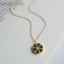 DAIWUJAN Original 925 Sterling Sliver Trendy Round Black Snowflake Pendant Necklaces For Women Girls Gold Zircon Necklace(China)