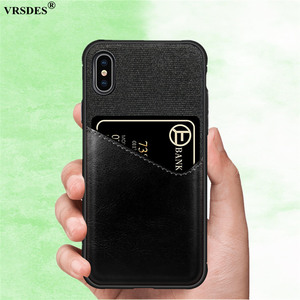 VRSDES PU Leather Hard PC Case For iPhone 7 8 Plus X 6 6S XS XR Case Cloth Card Slot Cover For Samsung Galaxy S9 S8 Plus Note9 8(China)