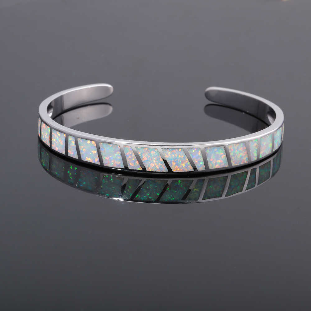 "CiNily Created White Fire Opal Silver Plated Wholesale Hot Sell Fashion for Women Jewelry Bangle Bracelet 6 3/4"" OS572"