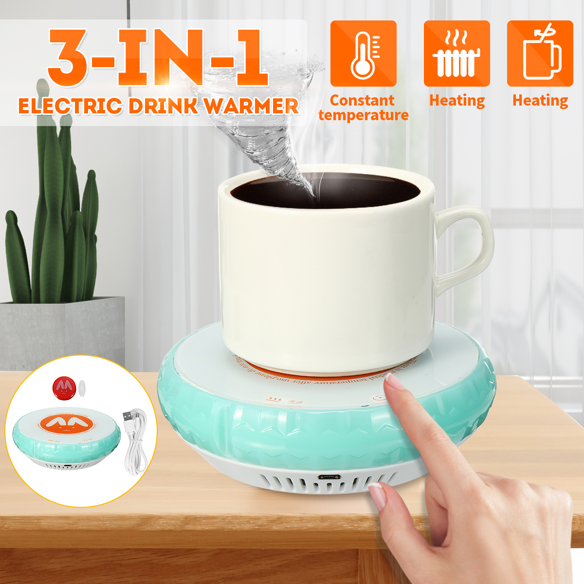 3 In 1 Magnetic Stirrer Magnetic Mixer Warmer Cup Mat Pad Cup Heating Mat Electric Tray Coffee Tea Drink Warmer Cup Heater