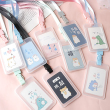 kawaii stationery Cartoon Student Card Cover Bag Bank Bus ID card Lanyard Holde business holder pvc plastic Note