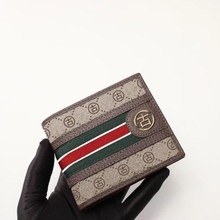 Italian gujia men's short wallet, brand printing with cow leather 2021 new leisure credit card bag, with counter box dust bag