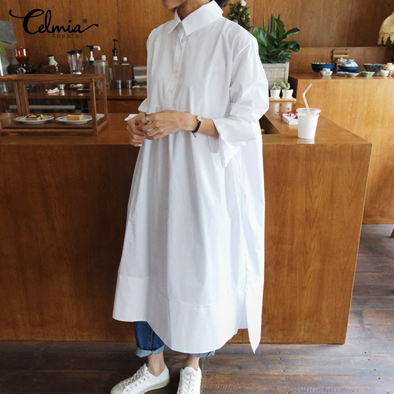 Celmia Women Shirt Dress Vintage Autumn Long Sleeve Lapel Buttons Casual Loose Midi Dress Irregular Fashion Vestidos Plus Size