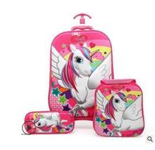 ثلاثية الأبعاد ستيريو حقيبة ترولي للأطفال للمدرسة الأطفال عربة حقيبة على عجلات الاطفال المتداول حقيبة لفتاة فتاة طالب المتداول حقائب