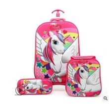 Sac à roulettes 3D stéréo pour enfants, sac à roulettes pour enfants à lécole, sur roues, sac à rouler, modèle valise à roulettes