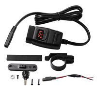 New motorcycle waterproof double QC3.0 12V car phone charger with red voltmeter power off switch Universal