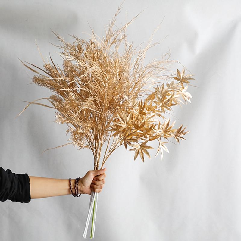 Искусственные золотые свадебные цветы, поддельные эвкалиптовые листья, Золотая серия, сделай сам, свадьба, Рождество, сад, Декор для дома, ве...