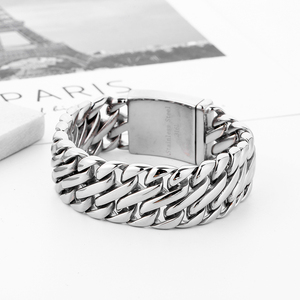 Image 3 - Double Curb Cuban Chain Bracelet Mens 316L Stainless Steel Wristband Bangle Silver color Tone 23mm Buddha Bracelet with Logo