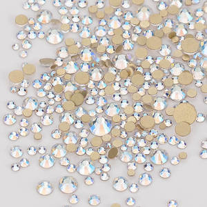 Image 3 - Mix Size Champagne Effects Flat Back Rhinestones For Nail Arts and Crafts