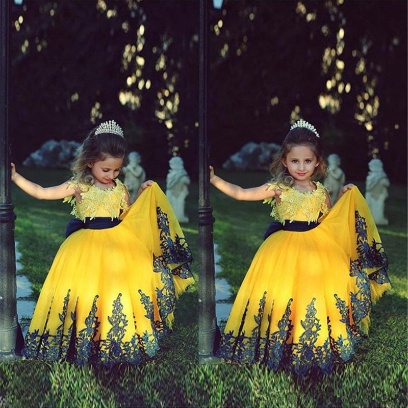 581Flower Girl Dresses With Applique Two Stones Yellow and Dark Blue Ball Gown First Communion Dress for Girls