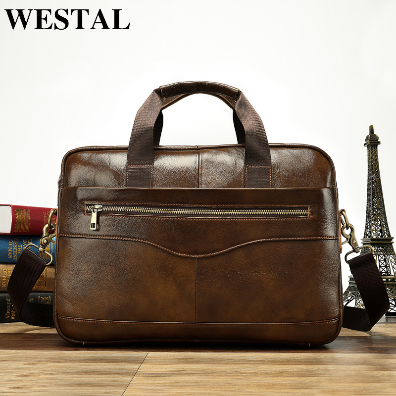 Messenger-Bag Computer-Bussiness 100%Genuine-Leather Briefcases Totes Laptop Men's Casual