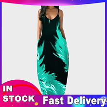 4--Dresses Plus-Size Women Casual for Summer Spaghetti-Strap Sexy V-Neck Loose Long
