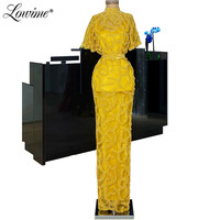Beading Yellow Evening Dresses Capped Sleeves Islamic Kaftans Dubai Formal Women Girls Party Gown 2020 Middle East Prom Dress