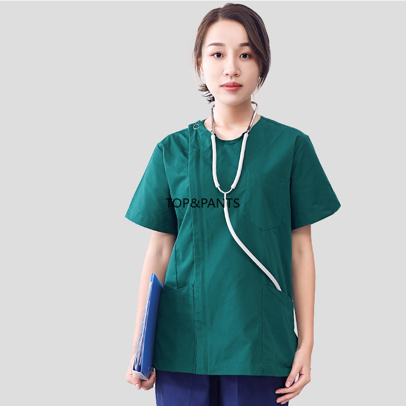 [SET] Pure Cotton Zipper Opening Nurse Scrubs Women's Fashion Round Collar Medical Uniforms Side Opening Scrubs Set Top+Pants