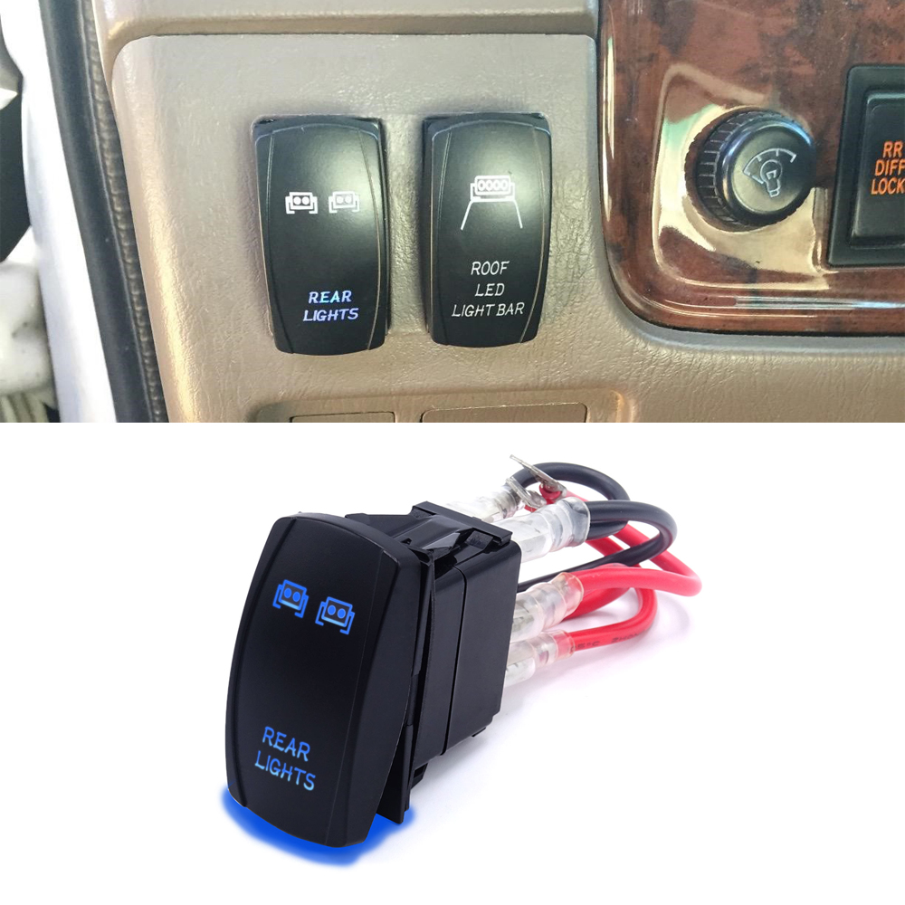 Laser Rear <font><b>Lights</b></font> Rocker <font><b>Switch</b></font> 5 Pin On-Off Blue LED <font><b>Light</b></font> Toggle Button 20A/12V Fits most SUV,<font><b>ATV</b></font>,UTV,Motorcycle,Truck etc. image
