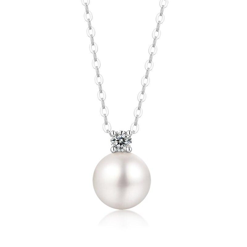 Yulaili 925 collier en argent Sterling pour les femmes bijoux de mode perle naturelle Moissanite pendentif à breloque collier cadeaux d'anniversaire