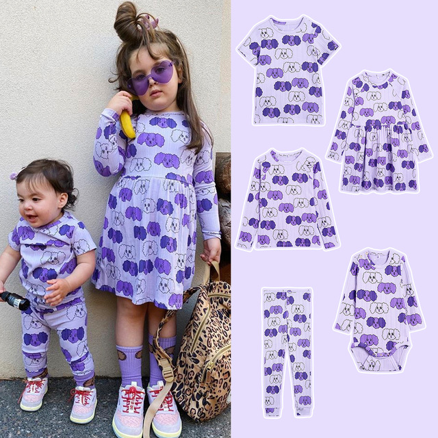 Kids Clothes Sets T-shirts 2021 New Spring MR Brand Girls Cartoon Pattern Dress Cotton Fashion Baby Romper Boys Casual Pants 1