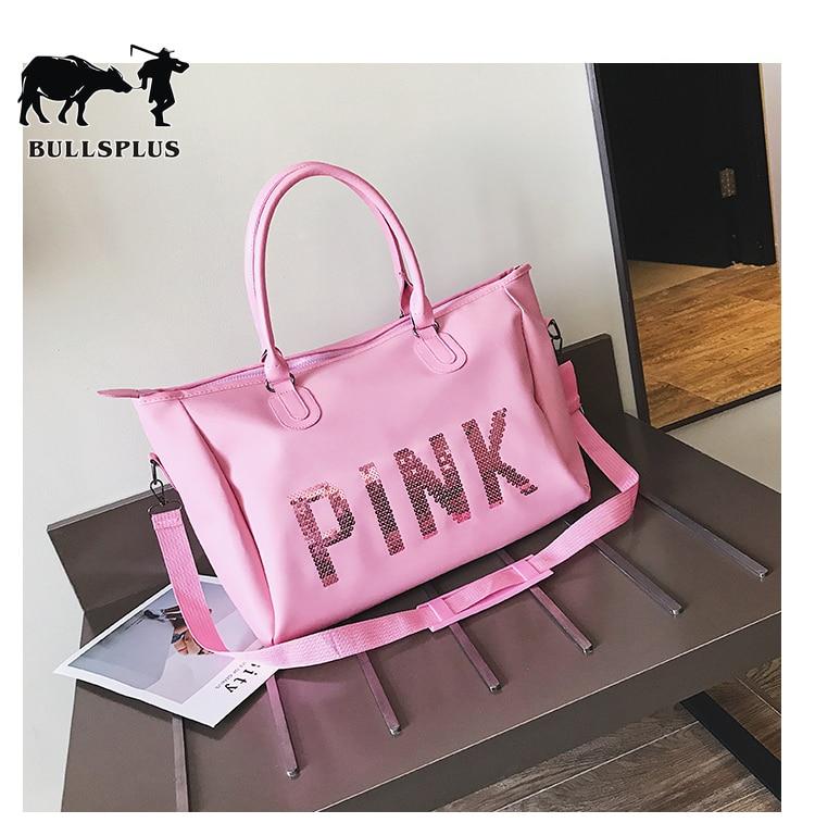 2019 New Short Travel Bag Women's Handbag Bag Men's Large-capacity PINK Travel Bag Shoe Seat Fitness Bag