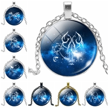 Hot 2019 Sale Fantasy Version 12 Constellation Pattern Glass Convex Round Pendant Necklace Fashion Gift Jewelry