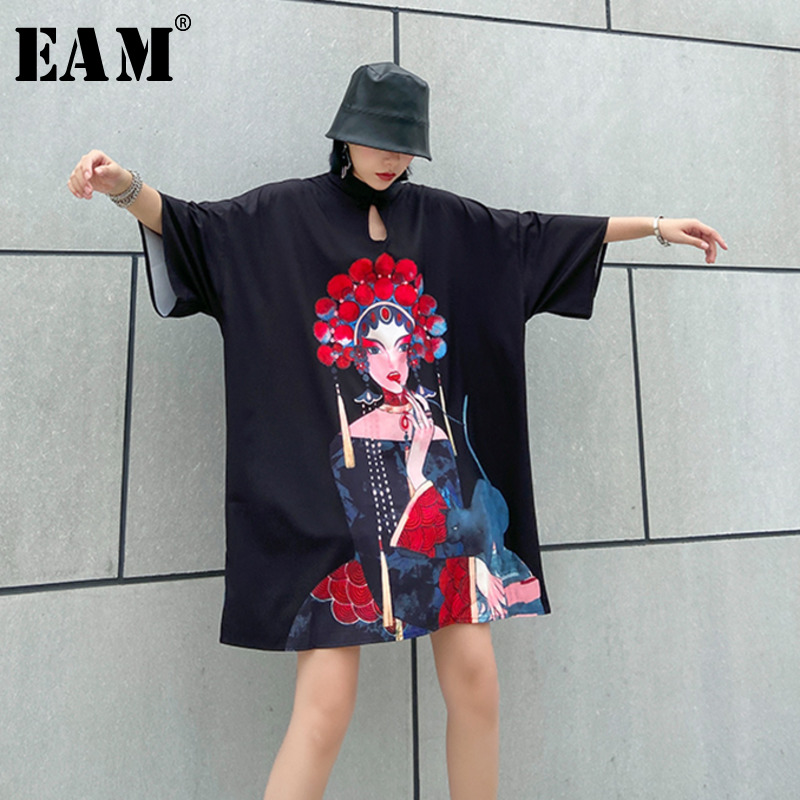 [EAM] Women Pattern Printed Big Size Dress New Stand Collar Three-quarter Sleeve Loose Fit Fashion Spring Summer 2020 1U075