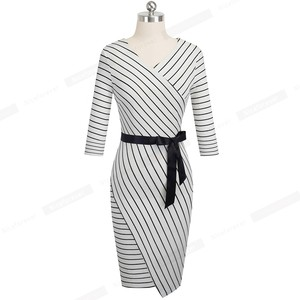 Image 2 - Nice forever Elegant V neck Stripes Office vestidos Business Party Bodycon Autumn Women Dress B548