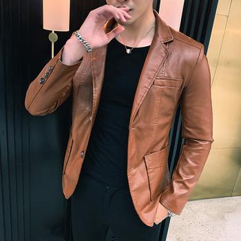 Kurtka męska 2020 męskie kurtki męskie wiosenne i jesienne kurtki skórzane męskie nowe koreańskie style slim cienkie kurtki skórzane trend tanie i dobre opinie Sorenwing CN (pochodzenie) Grube Suknem NONE Poliester leather jacket mens leather jackets and coats Stałe REGULAR Szczupła