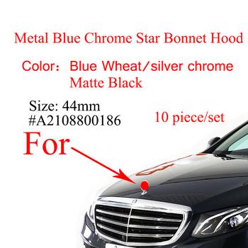 10 sztuk maska samochodu gwiazda odznaka kaptur Logo Chrome niebieski pszenicy godło dla Mercedes Benz W123 W126 W201 W212 W221 W124 (kłosy pszenicy) odznaka tanie i dobre opinie CN (pochodzenie) 4 4cm Mercedes-benz Metal Emblems 150g