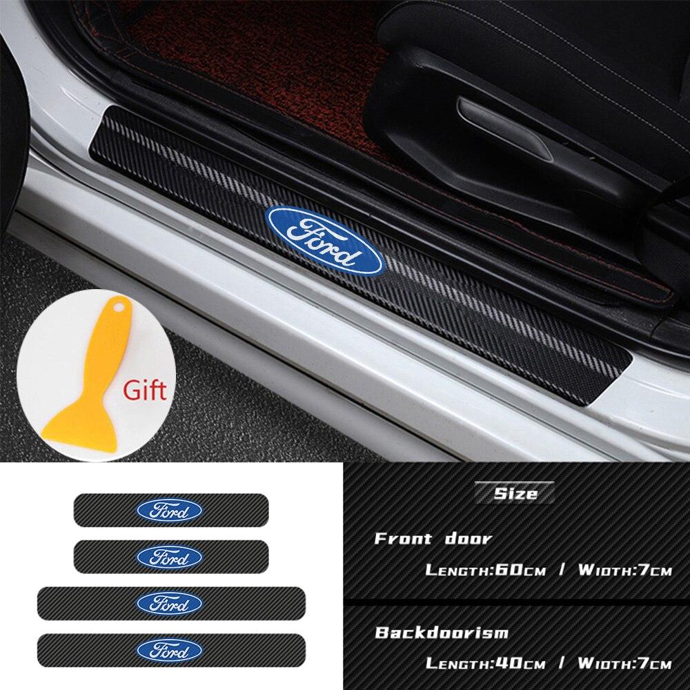 4 Stuks Auto Styling Deur Koolstofvezel Sill Scuff Plaat Decor Sticker Voor Ford Focus 2 3 1 MK2 MK3 MK1 Fusion Accessoires