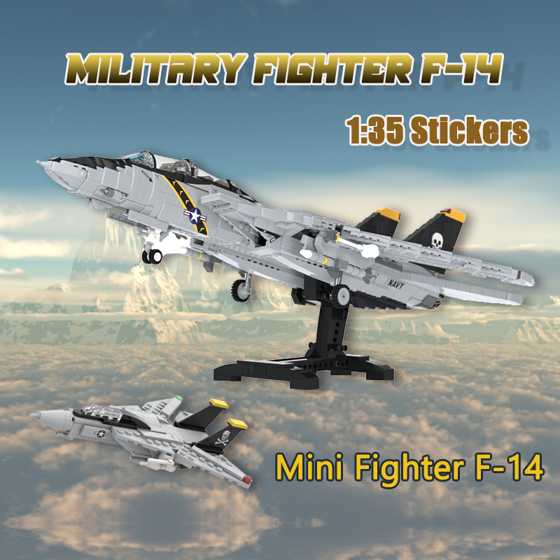 MOC Building Block Kid's Military Fighter F-14Tomcat Supersonic Combat Aircraft Assembly Model DIY Brick Children's Toys Gift