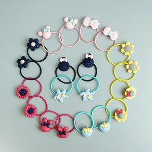 20 PCS Cartoon Bow Knot Rabbit Ears Girls Hair Accessories Set Hair Ropes Baby Mini Headbands Gum Children Rubber Band Hair Ring