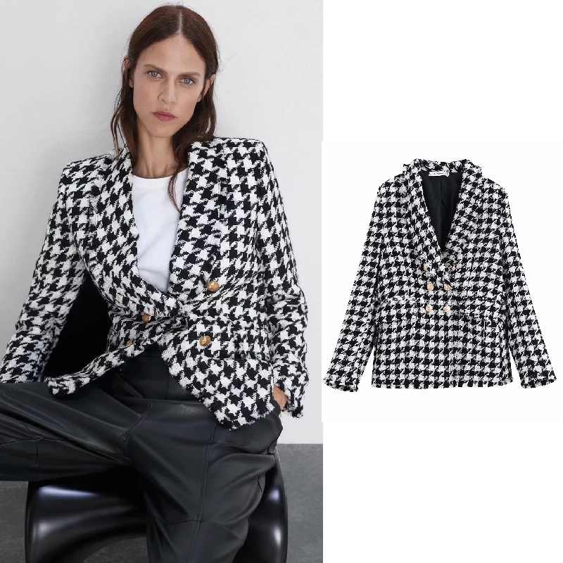 Houndstooth Women Clothing Blazers Long Sleeve Turn-down Collar Coat Female 2019 Lady Business Jacket Suit Coat Top Outerwear