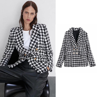 houndstooth Women Clothing blazers Long Sleeve Turn down Collar Coat Female 2019 Lady Business Jacket Suit Coat Top Outerwear