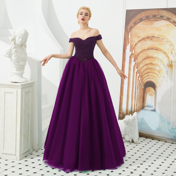 Womens Formal Evening Dress Beaded Off Shoulder Prom Dresses Long A-line Tulle Party Gowns