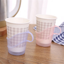 Lot of 6PCS Handle Anti-scald Plastic Disposable Paper Plastic Polystyrene Cup Holder Set Multifunctional Home Accessories