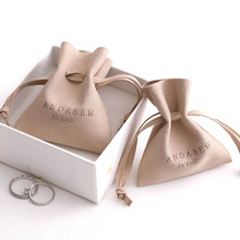 Pouches Packaging Business-Rings Name-Jewelry Microfiber Wedding-Favor Personalized-Logo