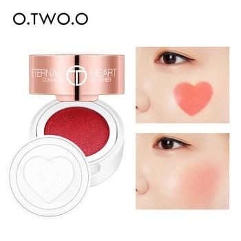 O.TWO.O cojín de aire colorete plegable forma de corazón brillo colorete 4 colores fácil de usar Contorno de cara Natural maquillaje