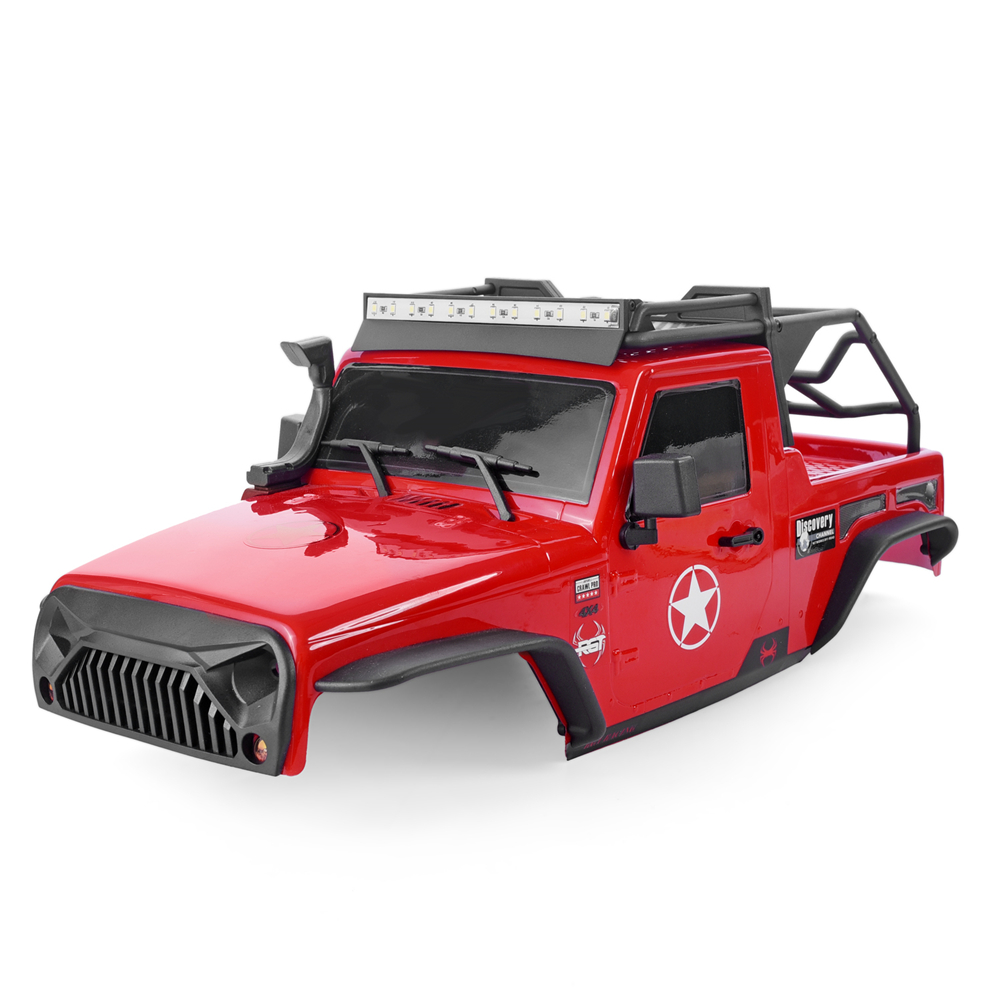 RGT PC Body Shell with Roof Rack and <font><b>LED</b></font> <font><b>Light</b></font> <font><b>Bar</b></font> For 1:10 <font><b>RC</b></font> Crawlers Axial SCX10 Traxxas Redcat 313mm Wheelbase <font><b>RC</b></font> Car Parts image