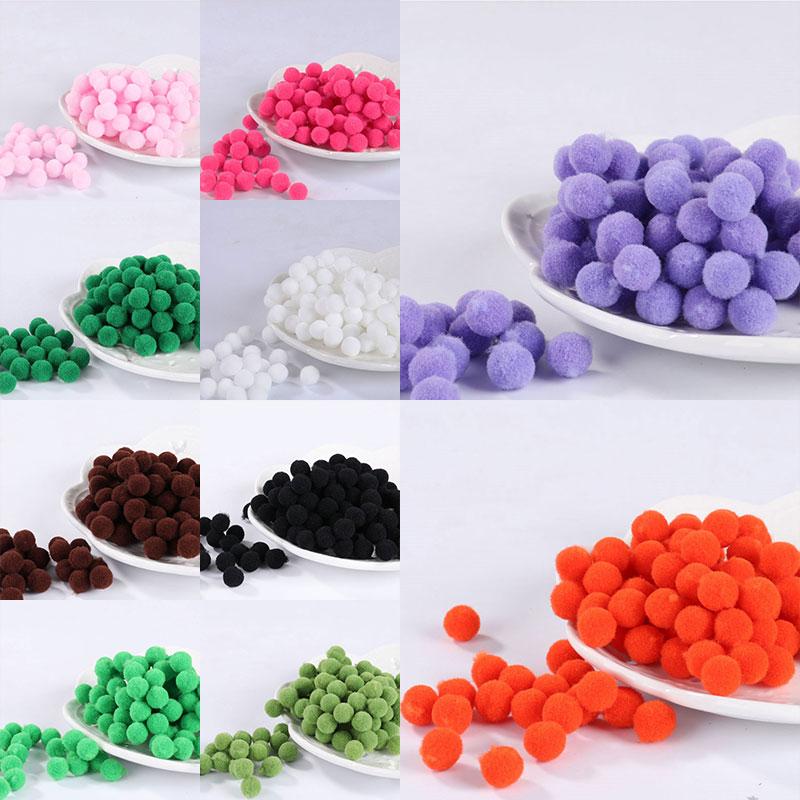 100 Pcs 8mm Mini Fluffy Soft Pom Poms Pompoms Ball Handmade Kids Toys Wedding Decor DIY Sewing Craft Supplies