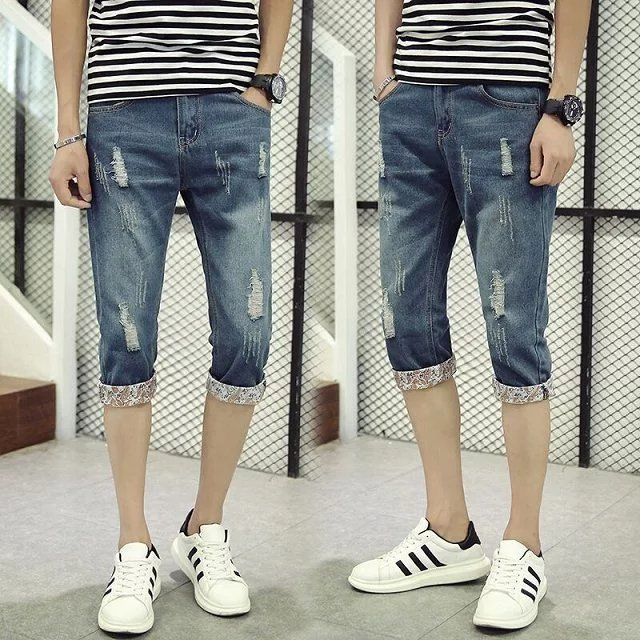 Summer Thin Section Capri Denim Shorts Men Teenager Students Revers With Holes Cool Trend Floral Skinny Pants
