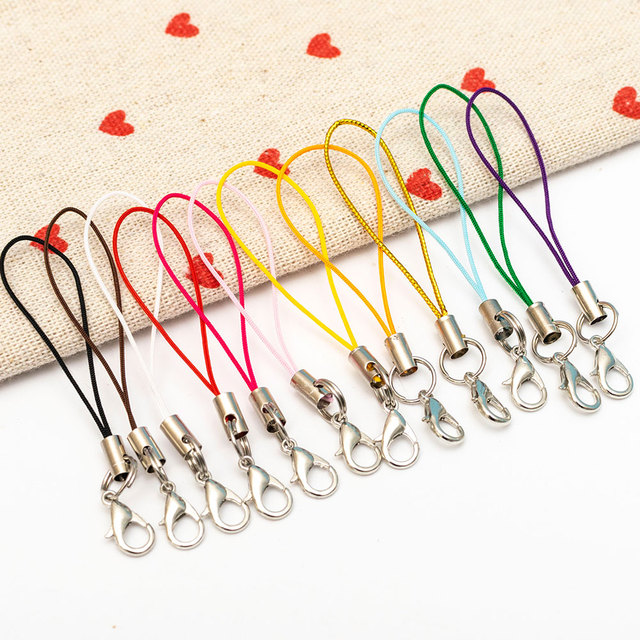 10 Pcs/lot Keychain Strap Thread Cord Key Ring Holder Keyfob Lobster Clasp Mobile Phone  Lanyard Diy Jewelry Kpop Accessories