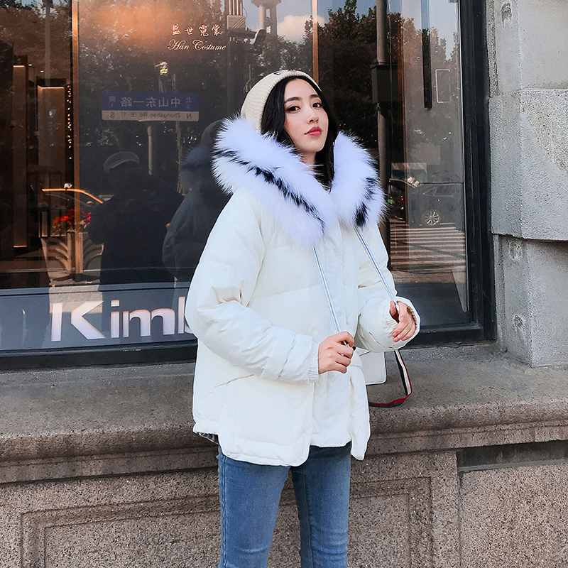 Winter Down Jacket Woman Hooded 90% Duck Down Coat Female Thick Warm Short Down Parka Real Fur Hooded Clothes LWL1342