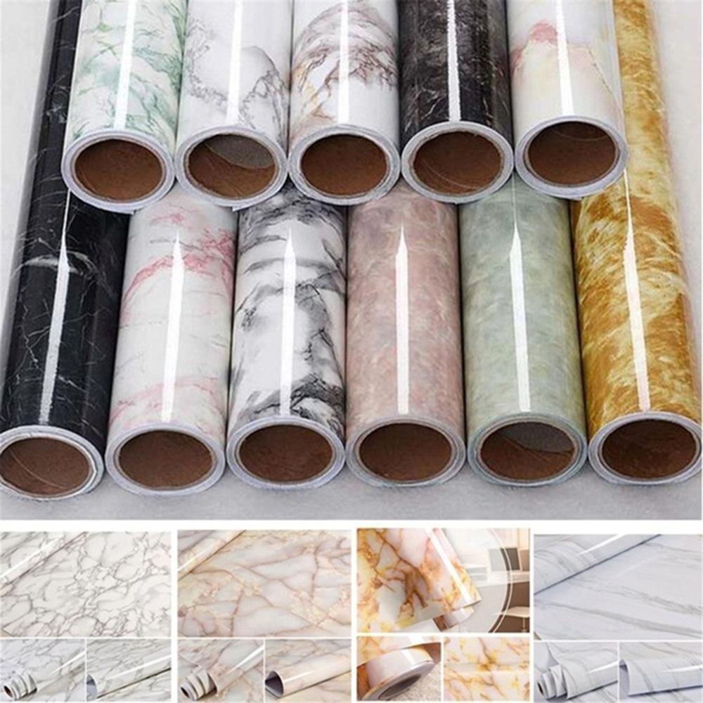 60*100 centimetros à prova de água padrão de imitação de mármore adesivo de parede de pvc